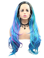 cheap -Synthetic Lace Front Wig Curly Layered Haircut Lace Front Wig Medium Length Black / Blue Synthetic Hair 26 inch Women's Party Women Blue Sylvia
