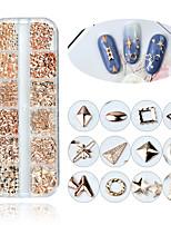 Недорогие -12 сетка японский мини смешанный стиль ногтей из розового золота металлические заклепки шпильки 3d diy очарование украшения аксессуары