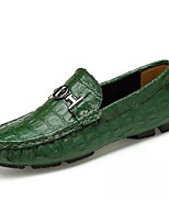 cheap -Men's Summer Casual Daily Loafers & Slip-Ons Cowhide / PU Non-slipping White / Black / Green
