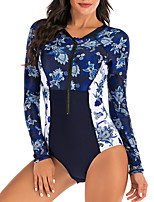 cheap -Women's One Piece Swimsuit Retro Padded Swimwear Swimwear Dark Navy UV Sun Protection Breathable Quick Dry Long Sleeve - Swimming Water Sports Summer / Stretchy