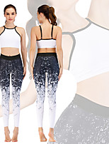 cheap -Women's 2pcs Yoga Suit Print White Running Fitness Gym Workout High Waist Sports Bra Leggings Clothing Suit Sport Activewear Quick Dry Butt Lift Tummy Control Stretchy