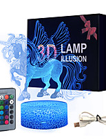 Недорогие -3d ночник единорога привел usb ночники иллюзия лошадь сенсорная настольная лампа с изменением цвета лампы с пультом дистанционного управления для детей, детей, взрослых, комната / вечеринка dcor