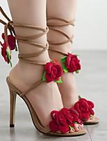 cheap -Women's Sandals Heel Sandals Summer Stiletto Heel Open Toe Daily PU Almond