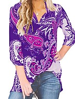 cheap -Women's Floral Blouse Daily V Neck Black / Purple / Army Green / Navy Blue