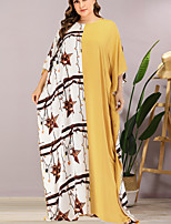 cheap -Women's Sheath Dress Maxi long Dress - 3/4 Length Sleeve Color Block Summer Elegant 2020 Yellow One-Size