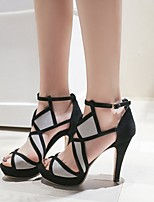 cheap -Women's Sandals Heel Sandals Summer Stiletto Heel Open Toe Roman Shoes Daily PU Black / Gray