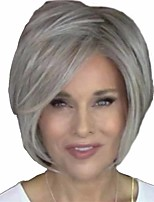 cheap -Synthetic Wig Natural Straight Short Bob Wig Short Grey Synthetic Hair 14 inch Women's Women Easy dressing Fluffy White