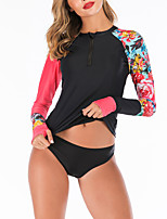 cheap -Women's Two Piece Swimsuit Swimwear Breathable Quick Dry Long Sleeve 2-Piece Front Zip - Swimming Water Sports 3D Print Summer / Stretchy