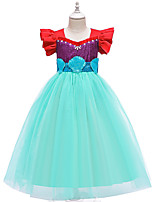 cheap -The Little Mermaid Princess Dress Flower Girl Dress Girls' Movie Cosplay A-Line Slip Blue Dress Children's Day Masquerade Satin / Tulle Sequin