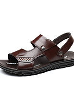 cheap -Men's Summer Classic / Casual Daily Outdoor Sandals Cowhide Non-slipping Wear Proof Black / Brown