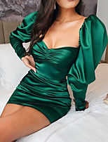 cheap -Sheath / Column Hot Green Homecoming Cocktail Party Dress Scoop Neck Long Sleeve Short / Mini Satin with Ruched 2020