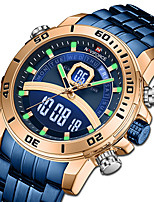 cheap -NAVIFORCE Men's Steel Band Watches Japanese Quartz Sporty Stainless Steel Black / Blue / Silver 30 m Water Resistant / Waterproof Calendar / date / day Chronograph Analog - Digital Casual - Gold Blue