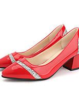 Недорогие -Жен. Обувь на каблуках Лето Блочная пятка Заостренный носок Повседневные Пайетки Полиуретан Черный / Светло-красный / Черный
