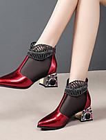cheap -Women's Boots Spring & Summer / Fall & Winter Chunky Heel Pointed Toe Daily Party & Evening Patent Leather Black / Red / Burgundy