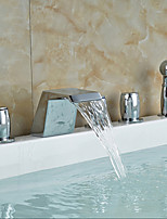 cheap -Bathtub Faucet - Contemporary Chrome Tub And Shower Ceramic Valve Bath Shower Mixer Taps