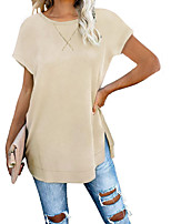 cheap -Women's Solid Colored T-shirt Daily Black / Blue / Khaki / Green / Navy Blue