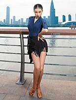 cheap -Latin Dance Top Ruching Women's Performance Half Sleeve Ice Silk