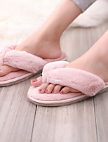 cheap -Women's Slippers & Flip-Flops Fuzzy Slippers Fall Flat Heel Round Toe Daily Faux Fur Wine / Pink / Gray