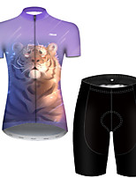 cheap -21Grams Women's Short Sleeve Cycling Jersey with Shorts Polyester Black / Yellow Galaxy Animal Tiger Bike Clothing Suit Breathable Quick Dry Ultraviolet Resistant Reflective Strips Sweat-wicking