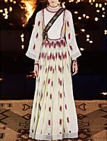 cheap -Sheath / Column Boho Maxi Holiday Prom Dress Jewel Neck Long Sleeve Floor Length Cotton with Lace Insert Pattern / Print 2020