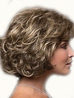 cheap -Synthetic Wig Curly Asymmetrical Wig Short Light Brown Synthetic Hair 12 inch Women's Simple Classic Women Blonde Light Brown