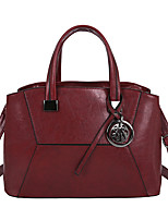cheap -Women's PU Leather Top Handle Bag Leather Bags Solid Color Wine / Black / Brown / Fall & Winter