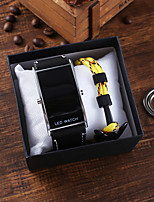 cheap -Men's Sport Watch Digital PU Leather Black Chronograph New Design LED Light Analog Fashion Cool - Black