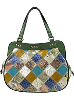 cheap -Women's Zipper Cowhide Evening Bag / Top Handle Bag Color Block Light Green
