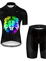 cheap -21Grams Men's Short Sleeve Cycling Jersey with Shorts Nylon Polyester Black / Blue Gradient Animal Lion Bike Clothing Suit Breathable Quick Dry Ultraviolet Resistant Reflective Strips Sweat-wicking