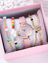cheap -Women's Quartz Watches Heart shape Fashion Black Pink PU Leather Chinese Quartz Black Blushing Pink Chronograph Cute Creative 1 set Analog One Year Battery Life