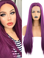 cheap -Synthetic Lace Front Wig Straight Middle Part Lace Front Wig Long Purple Synthetic Hair 18-26 inch Women's Soft Adjustable Party Purple