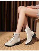 cheap -Women's Boots Summer Chunky Heel Closed Toe Daily PU White / Black