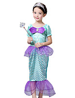 cheap -The Little Mermaid Princess Dress Flower Girl Dress Girls' Movie Cosplay Purple Dress Children's Day Masquerade Satin / Tulle