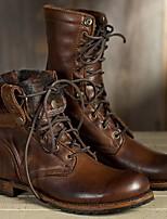 cheap -Women's Boots Summer Flat Heel Closed Toe Daily PU Brown