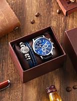 cheap -Men's Sport Watch Quartz PU Leather Black Chronograph Casual Watch Cool Analog Casual Fashion - Black / Large Dial