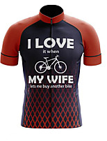 cheap -21Grams Men's Short Sleeve Cycling Jersey Polyester Black / Red Plaid / Checkered Gradient Bike Jersey Top Mountain Bike MTB Road Bike Cycling UV Resistant Breathable Quick Dry Sports Clothing Apparel