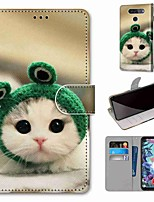 cheap -Case For LG Q70 / LG K50S / LG K40S Wallet / Card Holder / with Stand Full Body Cases Frog Cat PU Leather / TPU for LG K30 2019 / LG K20 2019