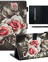 cheap -A Case With A Pen Samsung Galaxy Samsung Tab T585/590/515/725/580/595/510/720 with Stand / Flip / Ultra-thin Back Cover Flower PU Leather