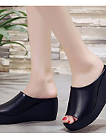 cheap -Women's Sandals Wedge Sandals Platform Sandal Summer Platform Peep Toe Daily PU White / Black