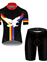 cheap -21Grams Men's Short Sleeve Cycling Jersey with Shorts Polyester Black / Red Animal Eagle National Flag Bike Clothing Suit Breathable Quick Dry Ultraviolet Resistant Reflective Strips Sweat-wicking
