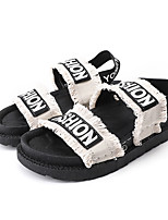 cheap -Women's Sandals Flat Sandal Summer Flat Heel Open Toe Casual Daily Outdoor Slogan Canvas White / Black
