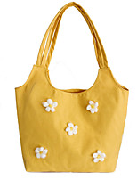 cheap -Women's Polyester / Canvas Top Handle Bag Canvas Bag Solid Color White / Black / Yellow / Fall & Winter