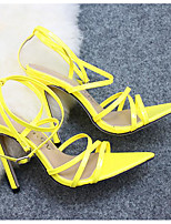 cheap -Women's Sandals Summer Stiletto Heel Open Toe Daily PU Almond / Black / Yellow