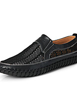 cheap -Men's Spring & Summer Casual Outdoor Loafers & Slip-Ons Walking Shoes Tissage Volant Breathable Dark Brown / Black / Orange
