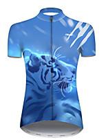 Недорогие -21Grams Жен. С короткими рукавами Велокофты Полиэстер Синий / белый Галактика Животное Tiger Велоспорт Джерси Верхняя часть Горные велосипеды Шоссейные велосипеды / Слабоэластичная / Дышащий