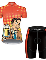 cheap -21Grams Women's Short Sleeve Cycling Jersey with Shorts Polyester Black / Orange Polka Dot Gradient Oktoberfest Beer Bike Clothing Suit Breathable Quick Dry Ultraviolet Resistant Reflective Strips