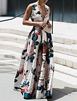 cheap -Sheath / Column Floral Maxi Holiday Prom Dress V Neck Sleeveless Floor Length Nylon with Pattern / Print 2020
