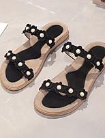 cheap -Women's Sandals Flat Sandal Summer Flat Heel Open Toe Daily PU Black / Blue / Gray