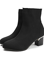 cheap -Women's Boots Spring / Fall Block Heel Pointed Toe Minimalism Daily Outdoor Tissage Volant Booties / Ankle Boots Black / Red / Black