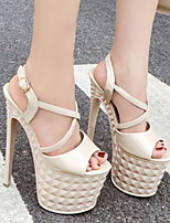 cheap -Women's Sandals Heel Sandals Platform Sandal Summer Platform Peep Toe Daily PU Almond / White / Black